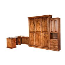 See Details - Forest Designs Traditional Alder Open Queen Murphy Bed, Pier & Desk: 142W X 92H X 24D