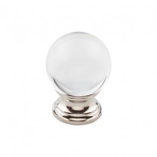 Product Image - Clarity Clear Glass Knob 1 3/16 Inch - Polished Nickel