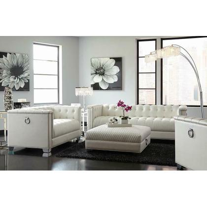 See Details - Chaviano Contemporary White Sofa