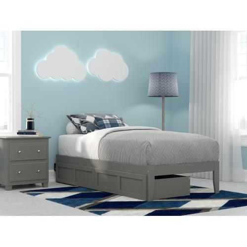 Colorado Twin Bed with USB Turbo Charger and 2 Drawers in Grey