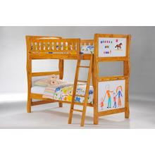 Scribbles Twin Twin Bunk in Medium Oak Finish
