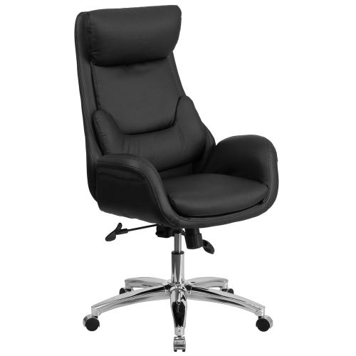 High Back Black Leather Executive Swivel Chair with Lumbar Pillow and Arms