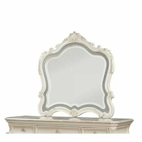 ACME Chantelle Mirror - 23544 - Pearl White