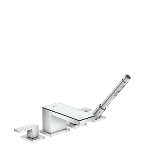 Chrome / Mirror Glass 4-Hole Roman Tub Set Trim with 1.75 GPM Handshower