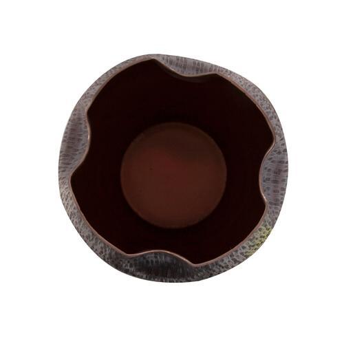Howard Elliott - Textured Deep Copper Aluminum Pinched Top Vase, Small