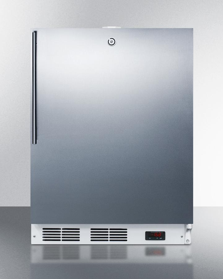 SummitBuilt-In Undercounter Ada Compliant Frost-Free All-Freezer For General Purpose Use, With Digital Thermostat, White Cabinet, Stainless Steel Door, Thin Handle, And Lock