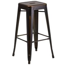 30'' High Backless Distressed Copper Metal Indoor-Outdoor Barstool