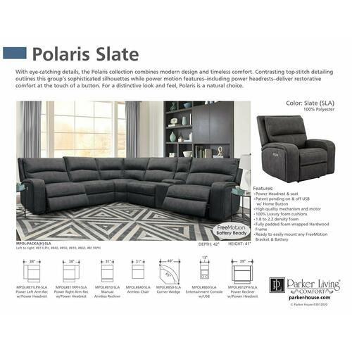 POLARIS - SLATE Power Right Arm Facing Recliner