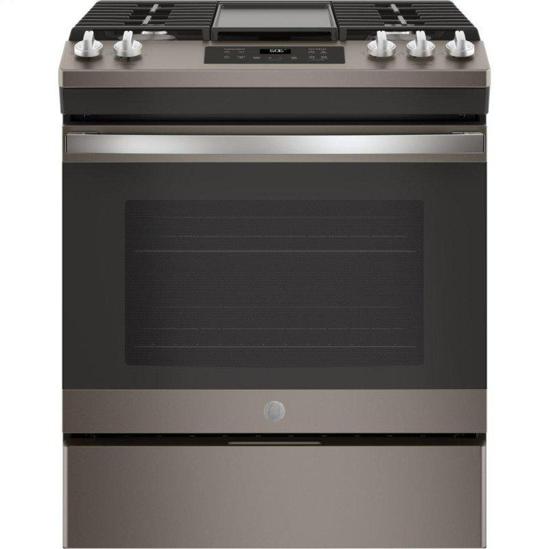 "GE(R) 30"" Slide-In Front Control Gas Range"