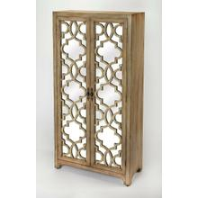 """See Details - No closet"""" No problem! Lend a little extra storage space to any master suite or hall with this beautiful four-shelf armoire. Blending form and function, it features a wood frame with with mirrored doors for a look that works in both classic and contemporary aesthetics. Open up the two fret work adorned doors to reveal four open shelves that will accommodate extra blankets and towels."""
