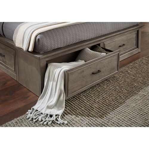 Chatham Park King / California King Panel Bed Storage Footboard and Slat Roll in Warm gray