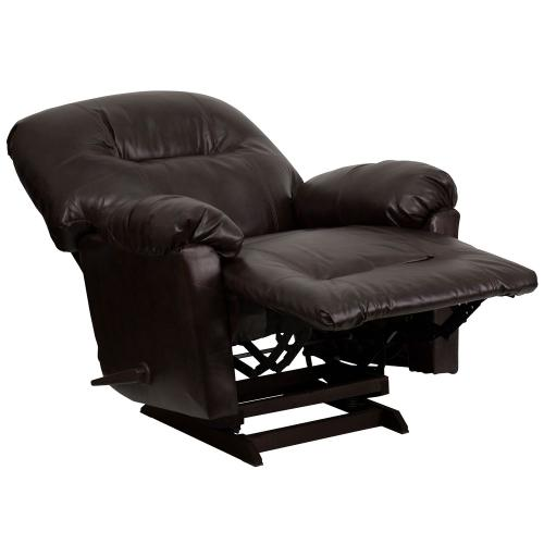Alamont Furniture - Contemporary Bentley Brown Leather Chaise Rocker Recliner