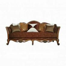ACME Beredei Sofa w/7 Pillows - 50665 - Fabric & Antique Oak