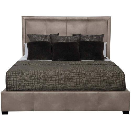 "Bernhardt Interiors - Queen-Sized Morgan Leather Panel Bed (54"" H) in Espresso"