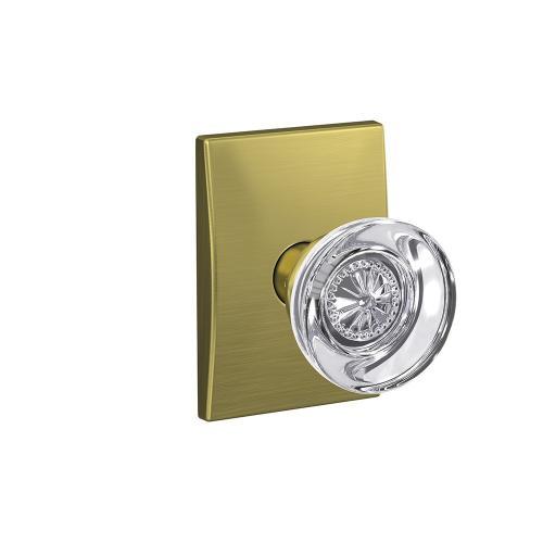 Custom Hobson Glass Knob with Century Trim Hall-Closet and Bed-Bath Lock - Satin Brass