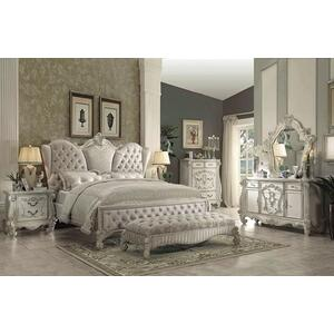 Versailles Ivory Velvet and Bone White Queen Upholstered Panel Bed