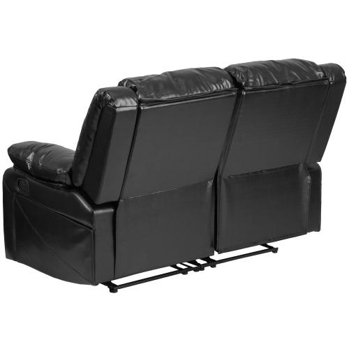 Black Leather Loveseat with Two Built-In Recliners