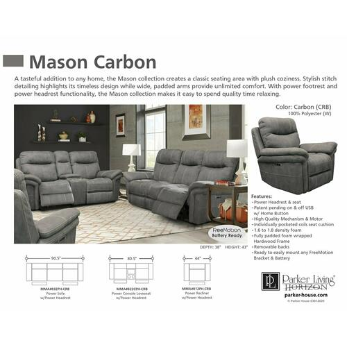 Parker House - MASON - CARBON Power Console Loveseat