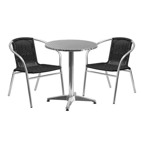 23.5'' Round Aluminum Indoor-Outdoor Table Set with 2 Black Rattan Chairs