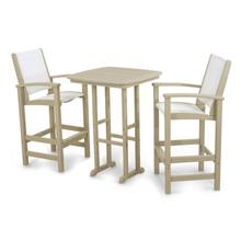 Sand & White Coastal 3-Piece Bar Set