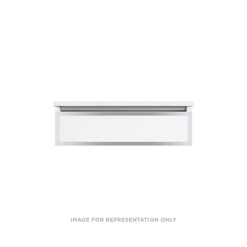 """Profiles 30-1/8"""" X 7-1/2"""" X 21-3/4"""" Modular Vanity In Satin White With Chrome Finish, False Front Drawer and Selectable Night Light In 2700k/4000k Temperature (warm/cool Light); Vanity Top and Side Kits Not Included"""