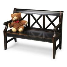 """See Details - This alluring transitional bench is a welcome addition to a variety of spaces. Crafted from select hardwoods and wood products, it features bold """"X """" back supports and a mysterious, lightly distressed Midnight Rose finish."""