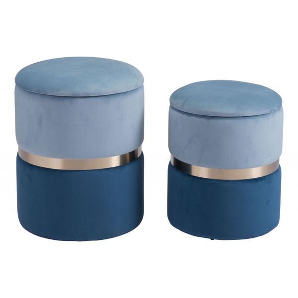 See Details - Lilith Ottoman Storage Set Blue