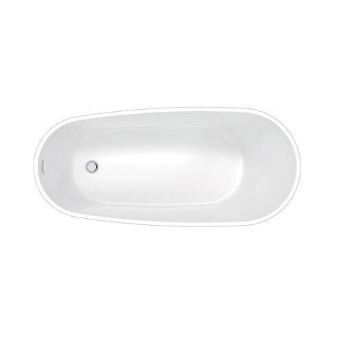 "Lulu 71"" Acrylic Slipper Tub with Integral Drain and Overflow - Polished Nickel Drain and Overflow"