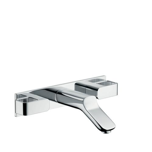 Chrome 3-hole basin mixer for concealed installation wall-mounted with spout 168 mm