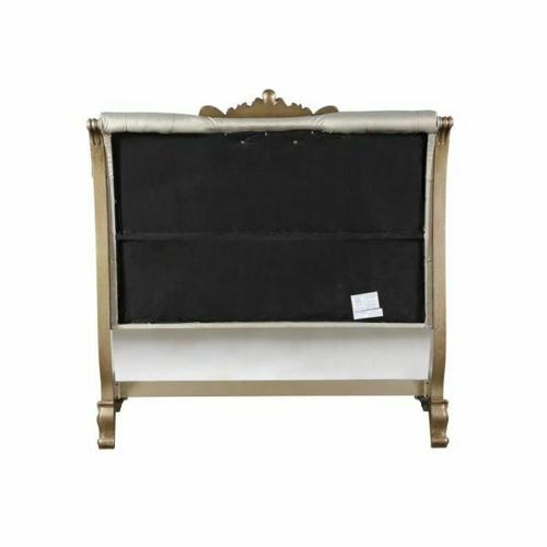 ACME Orianne California King Bed - 23784CK - Champagne PU & Antique Gold
