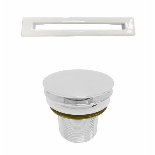 """Product Image - Oswald 59"""" Acrylic Tub with Integrated Drain and Overflow - White Powder Coat Drain and Overflow"""