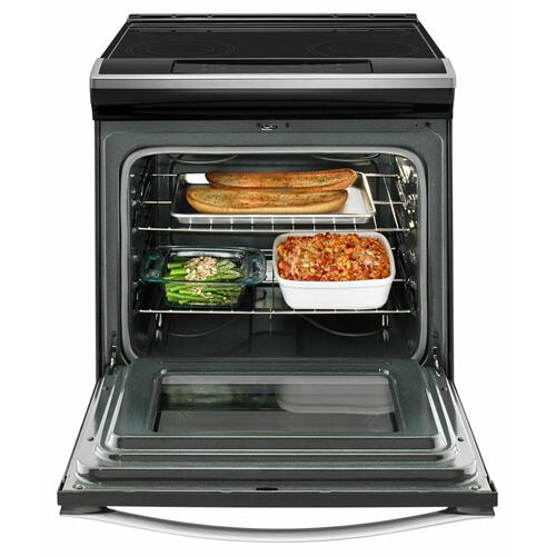 Whirlpool - 4.8 cu. ft. Guided Electric Front Control Range With The Easy-Wipe Ceramic Glass Cooktop Black-on-Stainless