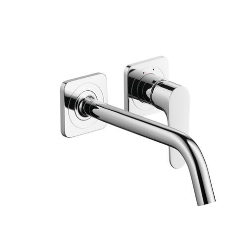 Brushed Nickel Single lever basin mixer for concealed installation wall-mounted with spout 227 mm and escutcheons