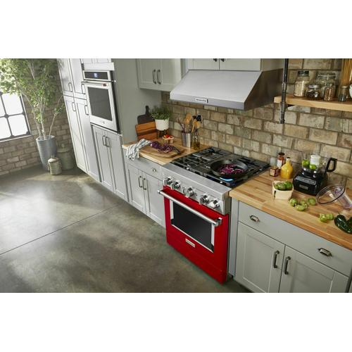 KitchenAid - KitchenAid® 30'' Smart Commercial-Style Dual Fuel Range with 4 Burners - Passion Red