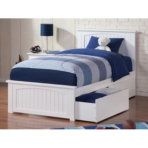 Nantucket Twin XL Bed with Matching Foot Board with 2 Urban Bed Drawers in White