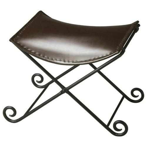 """This sleek seat redefines 'stool"""" for discerning consumers intent on having not only beautiful for intriguing home environments. Crafted from iron and leather, the puppy tail feet of the base add fanciful flourish on the floor. The seat securely hooks onto the base, which conveniently folds flat for storage."""