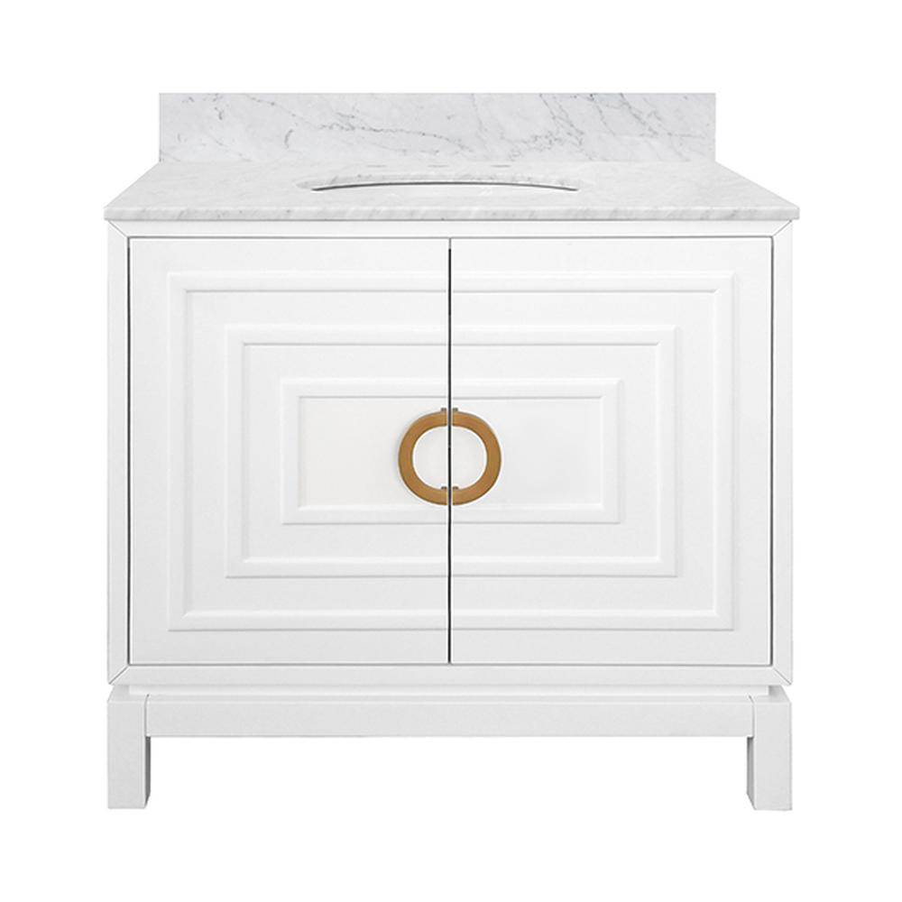 """See Details - The Art Deco-inspired Bixby Bath Vanity Is the Ultimate Centerpiece for Your Master Bath or Powder Room. an Artful Combination of Natural Materials and Geometric, Dimensional Surfaces, Bixby Delights With Crisp Matte White Finish, Repeating Raised Square Pattern, and Antique Brass Circle Hardware. Crowned With White Carrara Marble Top and Porcelain SINK. A 4"""" Tall, Full Length White Carrara Marble Backsplash Comes Detached for Your Custom Installation."""