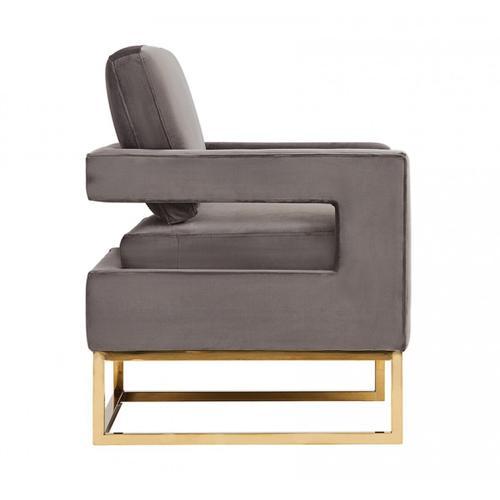 Gallery - Modrest Edna Modern Grey Velvet & Gold Accent Chair
