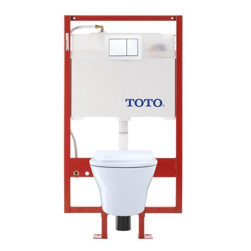 MH® Wall-Hung Toilet & DUOFIT In-Wall Tank System, 1.6 GPF & 0.9 GPF, Elongated Bowl - Pex Supply - Slim Seat - Cotton