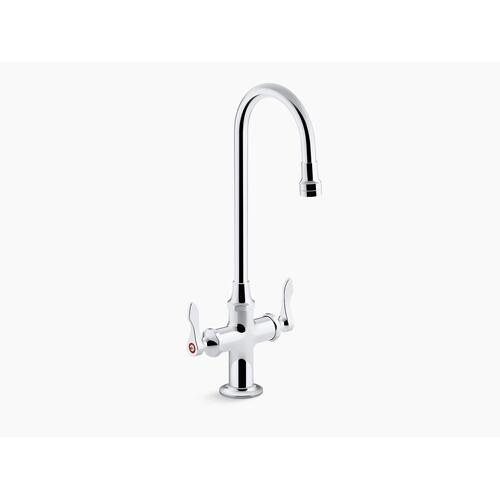 Polished Chrome 0.5 Gpm Monoblock Gooseneck Bathroom Sink Faucet With Laminar Flow and Lever Handles, Drain Not Included