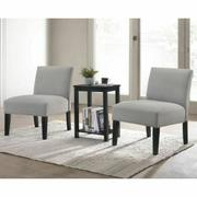 ACME Genesis 3Pc Pack Chair & Table - 59841 - Dark Gray Fabric & Black Product Image