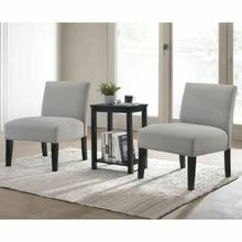 ACME Genesis 3Pc Pack Chair & Table - 59841 - Dark Gray Fabric & Black