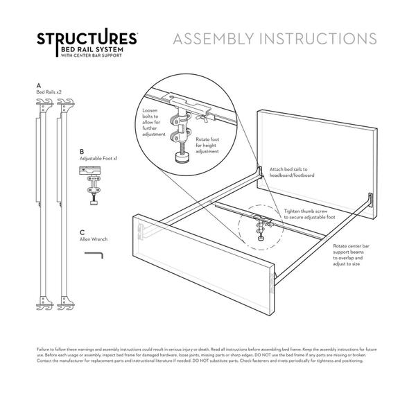 See Details - Hook-in Bed Rails with Center Bar
