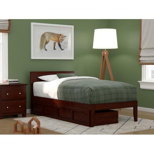 Atlantic Furniture - Boston Twin Bed with 2 Drawers in Walnut