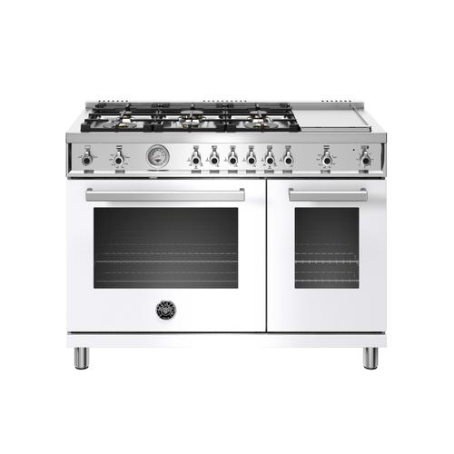Product Image - 48 inch All-Gas Range 6 Brass Burner and Griddle Bianco
