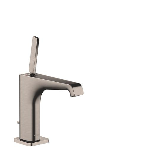 Stainless Steel Optic Single lever basin mixer 130 with pin handle and pop-up waste set