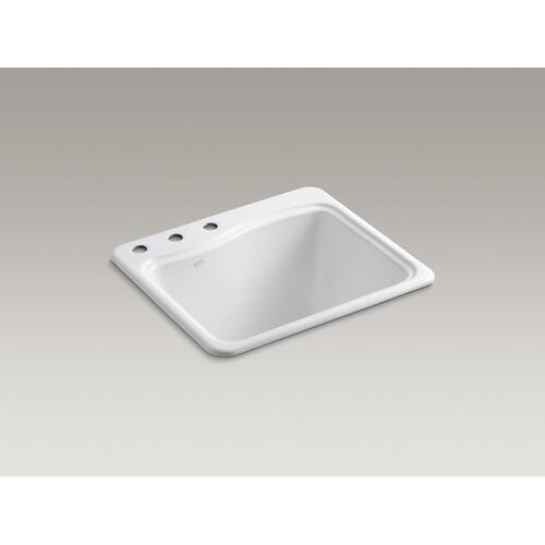 "White 25"" X 22' X 14-15/16"" Top-mount Utility Sink With 3 Faucet Holes On Deck On Left Side"