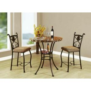 Acme Furniture Inc - ACME Kleef 3Pc Pack Counter Height Set - 70560 - Brown Faux Marble & Dark Bronze
