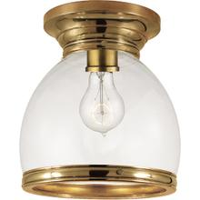 E. F. Chapman Edwardian 1 Light 10 inch Antique Burnished Brass Flush Mount Ceiling Light in Antique-Burnished Brass, Clear Glass, Open Bottom