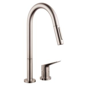 Stainless Steel Optic 2-hole single lever kitchen mixer 220 with pull-out spray